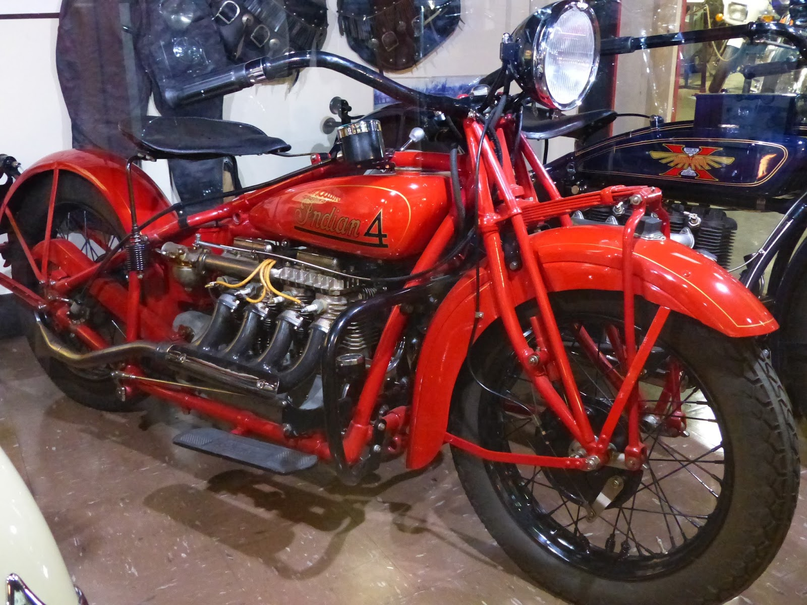 Oldmotodude 1930 indian four on display at the rocky for Rocky mountain motor sports