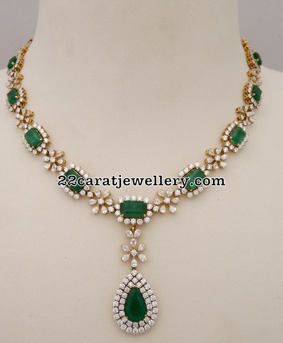 Diamond Emerald Simple Necklace