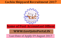 Cochin Shipyard Recruitment 2017– Accountant