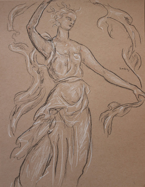 dancer, scarf, sarah, myers, art, arte, sketch, drawing, style, renaissance, dessin, dibujo, graceful, dance, charcoal, brown, figurative, contemporary, modern, lines, conte, woman, lady, dress