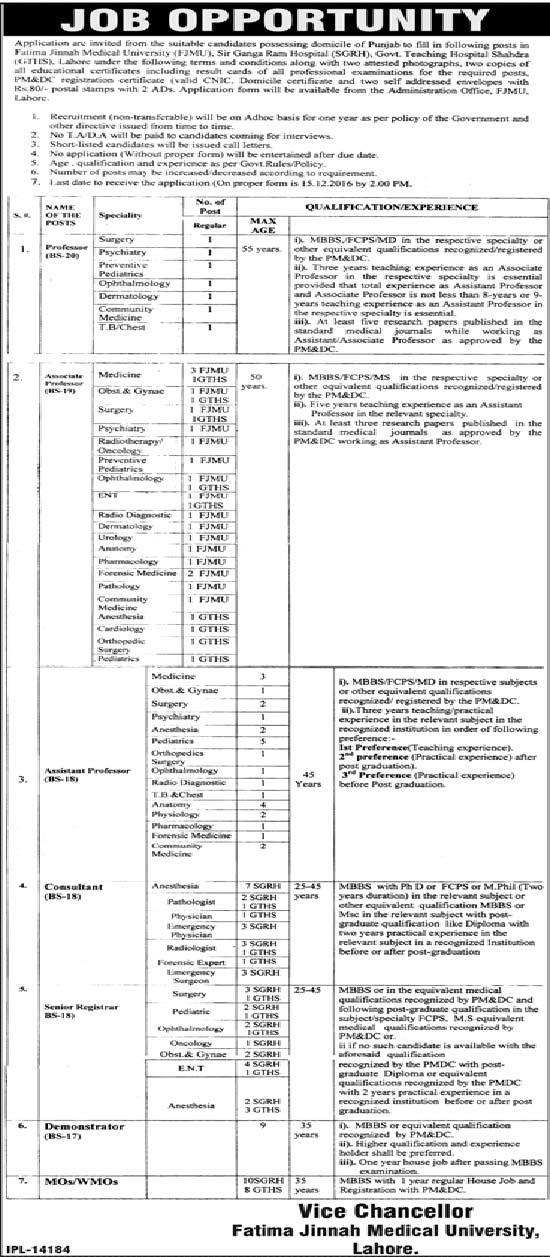 Fatima Jinnah Medical University Lahore Jobs