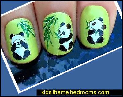 PANDAS BEARS & BAMBOO LEAVES NAIL ART WATER TRANSFERS STICKERS DECALS