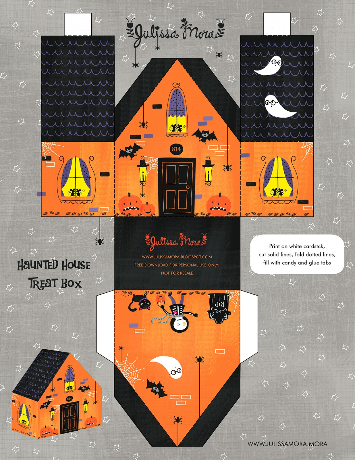 We Love To Illustrate Free Haunted House Treat Box Printable