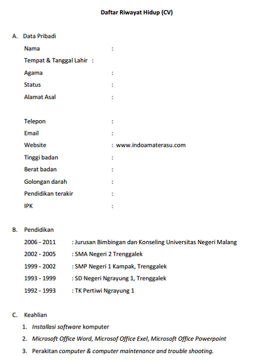 Contoh Daftar Riwayat Hidup Sesuai Eyd Agape Locs