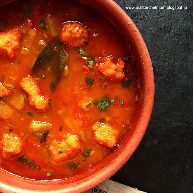Assamese Boror Tenga | Tangy Gravy with lentil dumplings