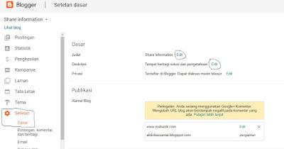 Cara merubah judul dan deskripsi blog dengan praktis
