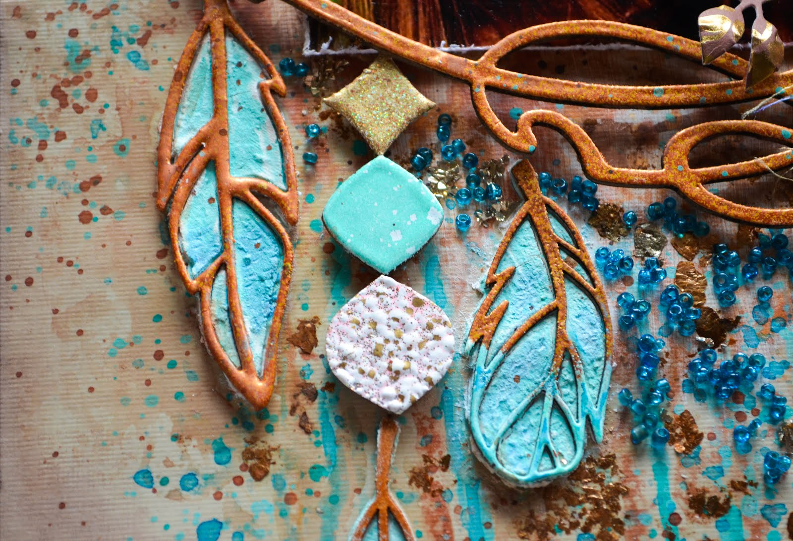3D feather scrapbooking embellishments tutorial using chipboard and texture paste