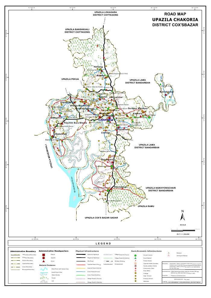 Chakaria Upazila Road Map Cox's Bazar District Bangladesh