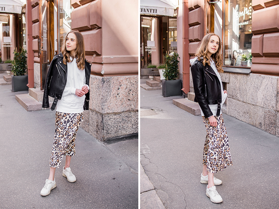 Outfit with leopard print skirt and white hoodie - Asu leopardihameen ja valkoisen hupparin kanssa
