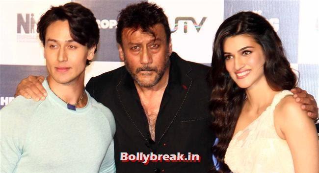 Tiger Shroff, Jackie Shroff and Kriti Sanon, Kriti Sanon at Heropanti Movie Trailer Launch