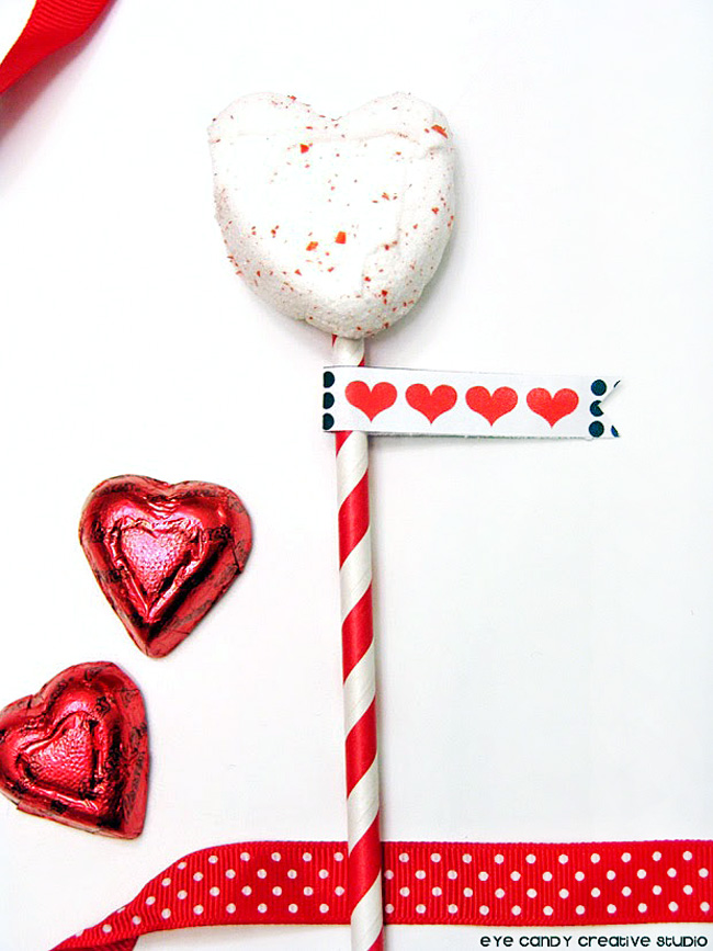valentines treat idea, marshmallow pops, drink flags treat flags, XO