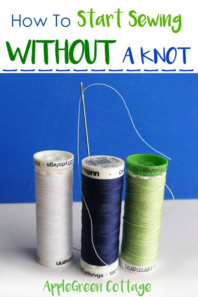 How to start sewing without a knot - tutorial by Apple Green Cottage