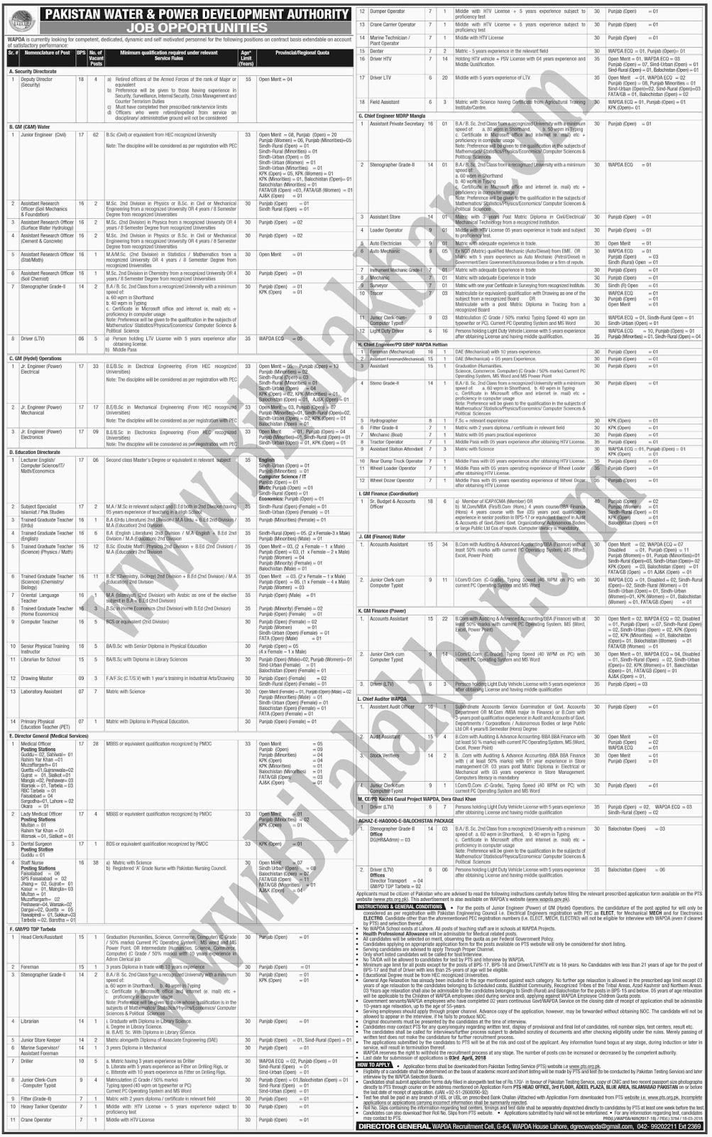 Jobs in WAPDA Pakistan Water & Power Development Authority
