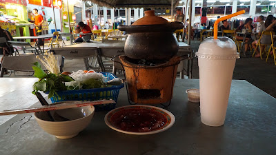 Dinner on my last night in Chiang Rai. Hot pot and coconut shake