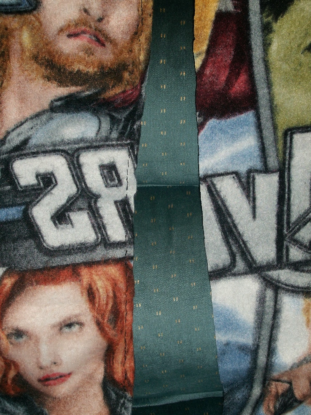 inside out hand sewn fleece pants in Marvel Avengers fabric.