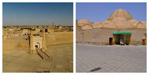 Ark fortress (left) and Trading domes of Bukhara (right)