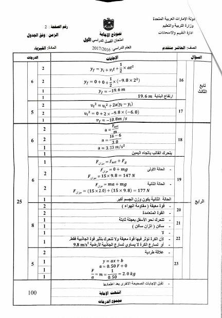 نموذج اجابة امتحان الفيزياء للصف العاشر فصل أول 2016/2017