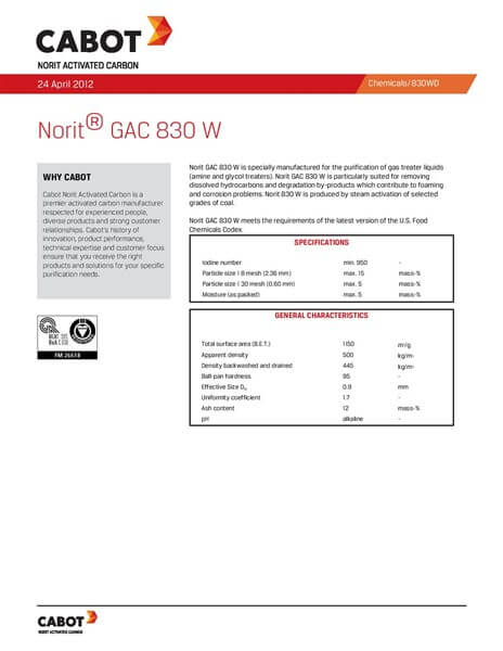 Product Data Sheet (PDS) Karbon Aktif Norit