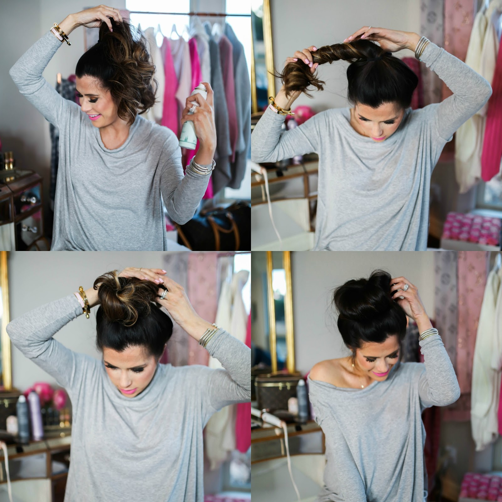 easy bun tutorial, emily gemma hair tutorial, emily gemma top knot tutorial
