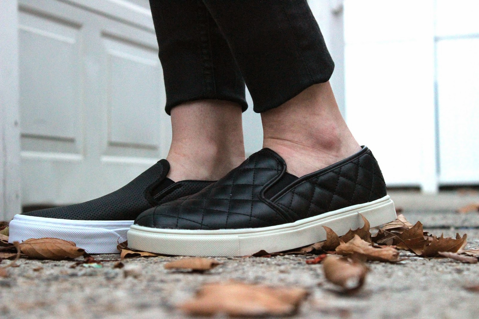 4846a94c84 REVIEW   Vans Perforated Leather Slip Ons VS Target Quilted Slip Ons ...