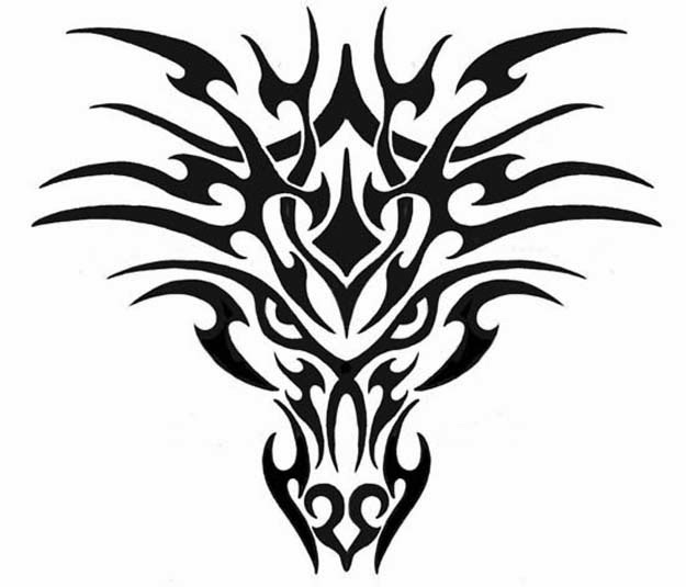 Dragon tribal head tattoo stencil