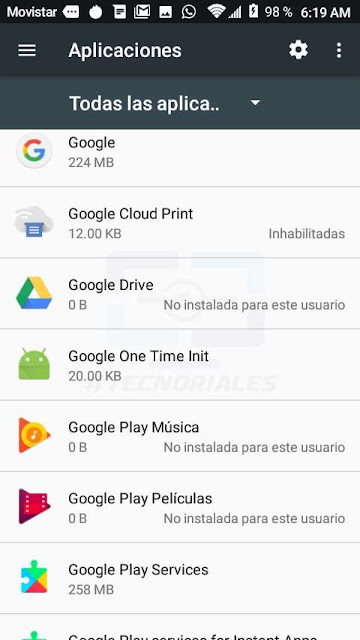 apps deshabilitadas y desinstaladas