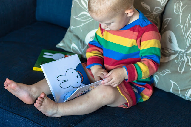 A toddler enjoying reading a story on the sofa