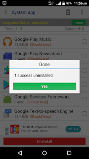 android Mobile system app uninstall