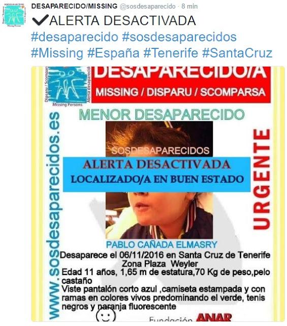 Aparece el niño  de Tenerife en buen estado Pablo Cañada
