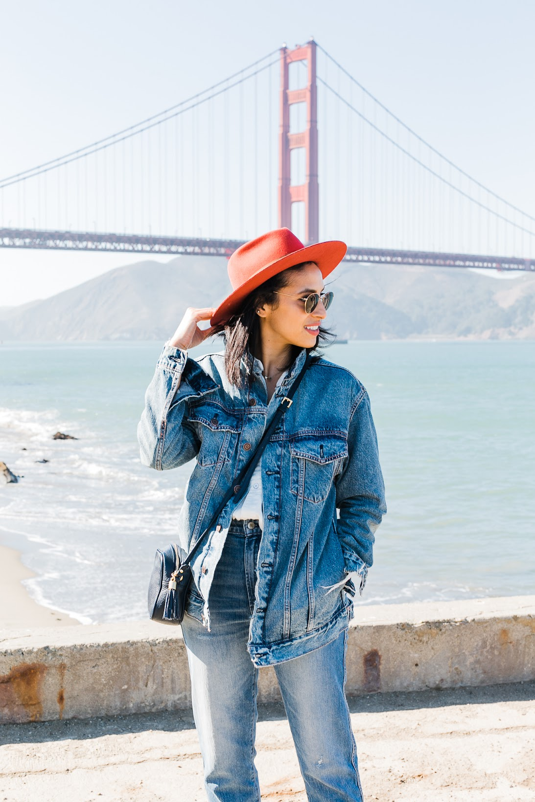 Lucky brand denim, San Francisco Golden Gate Bridge, Warming Hut Bookstore and cafe, Goorin Bros, all denim, how to style a Canadian tuxedo, fall style
