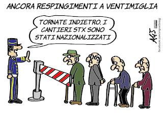 fincantieri, macron, privatizzazioni, acquisizioni estere, anziani, cantieri STX, vignetta, satira