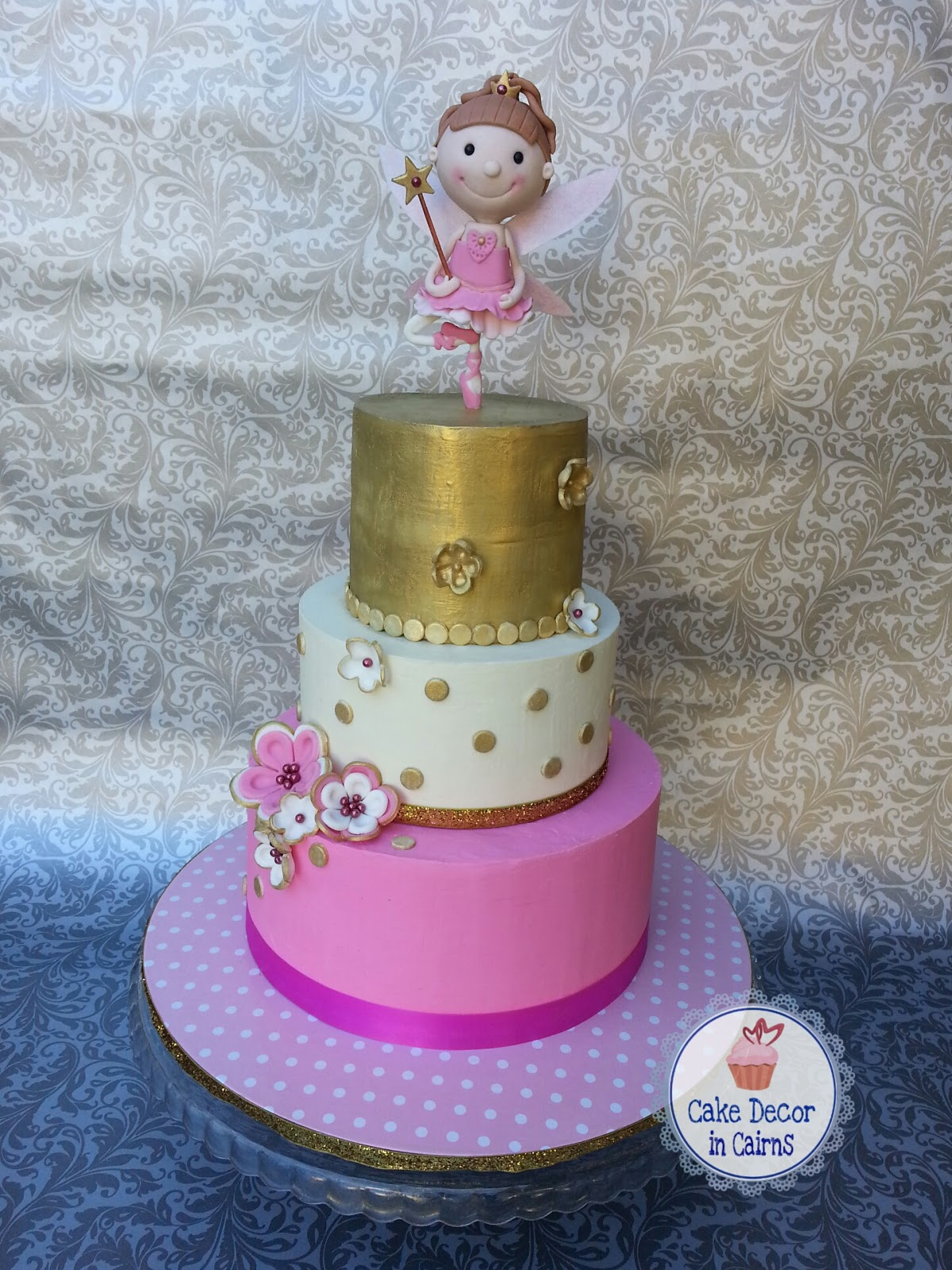 Ballerina Fairy Cake Coloured colored Ganache 3 tiers pink white and gold with fondant topper