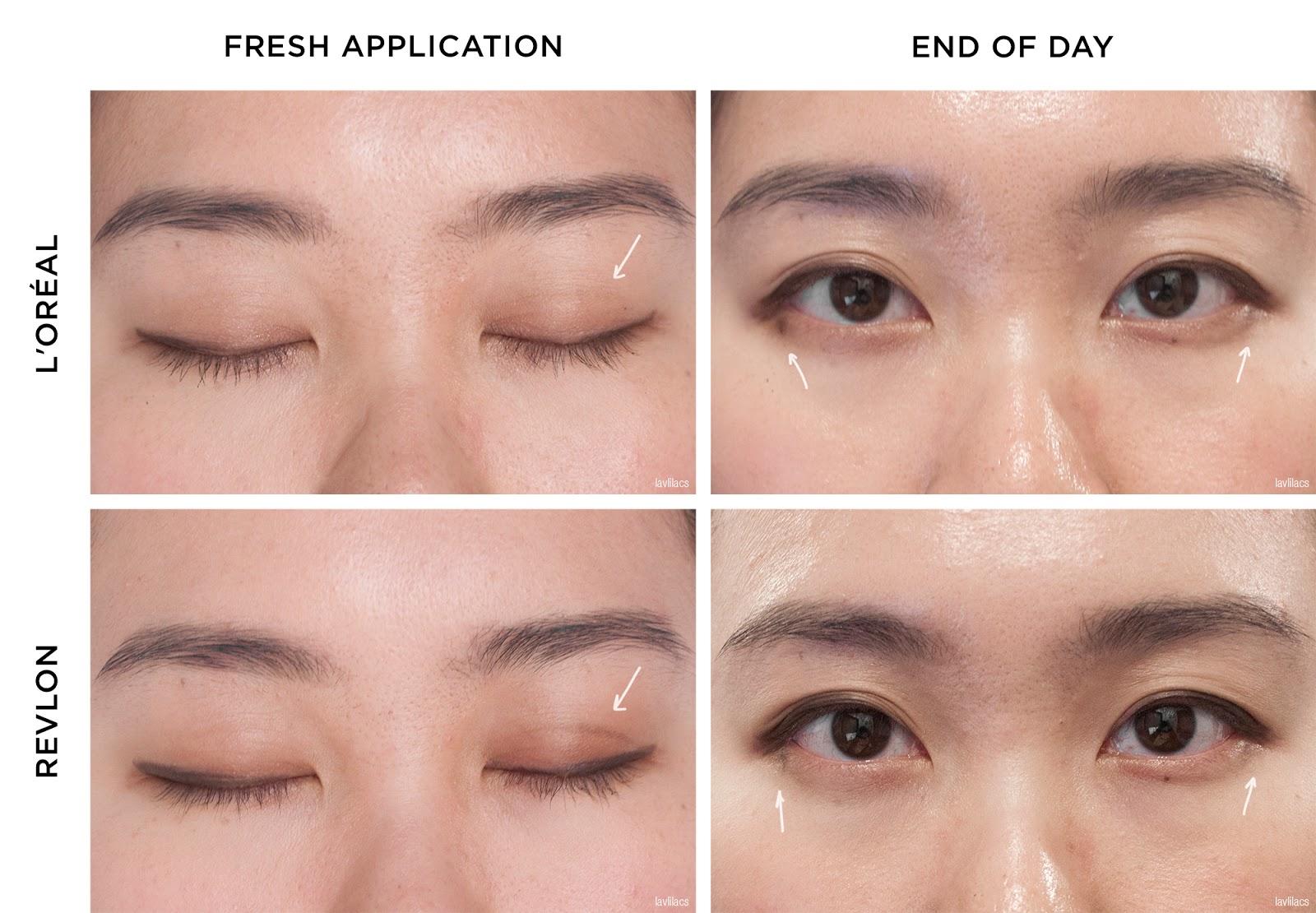 lavlilacs Retractable Eyeliner Comparison Review - L'Oreal Matte-Matic versus Revlon Colorstay applied