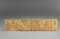 Set of belt buckles, unearthed from a Han dynasty tomb, Tianqi Mountain, Xuzhou, Jiangsu. Western Han period (206 BCE–9 CE), 2nd century BCE. Gold. Xuzhou Museum [Credit © Xuzhou Museum]