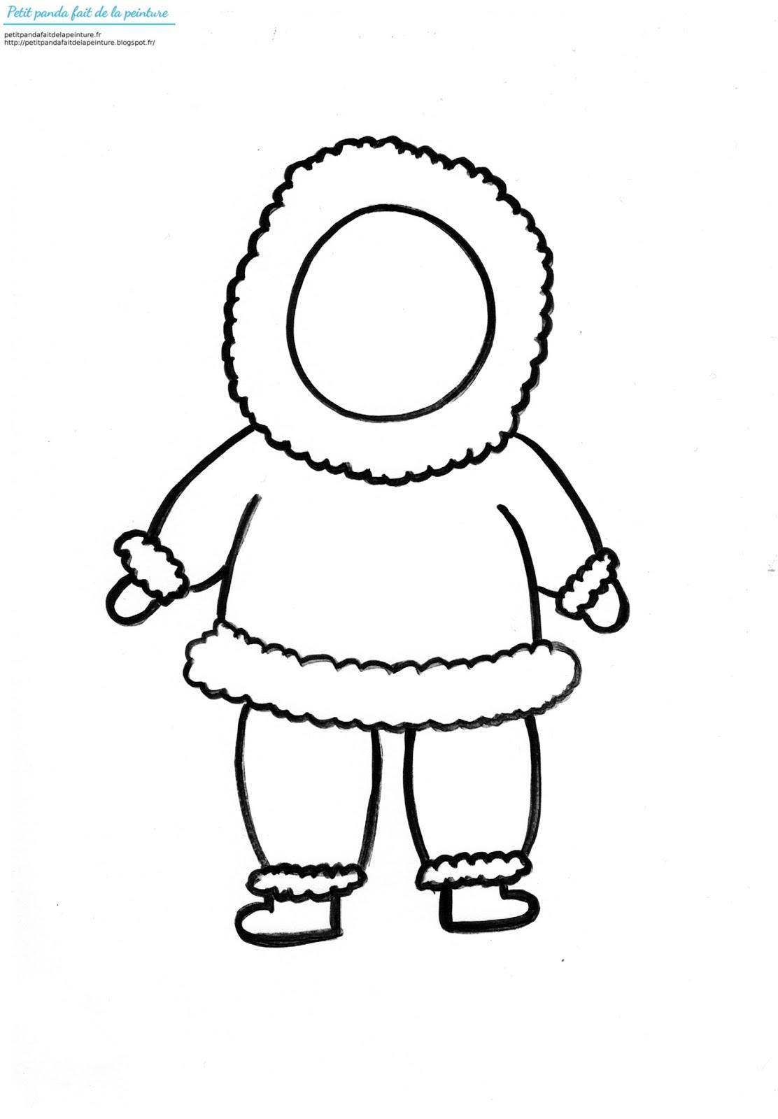Petit panda fait de la peinture theme hiver un esquimau - Esquimau dessin ...