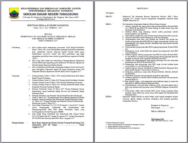 File Pendidikan Contoh Sk Tim Administrasi Bos Tahun 2017 Sd