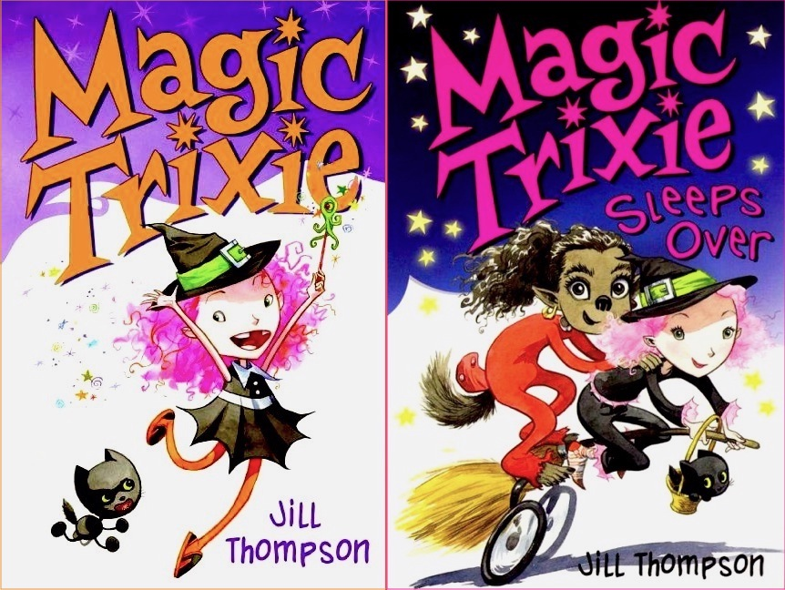 covers to pair of books showing Trixie frolicking with her cat and riding her magic-broom bicycle