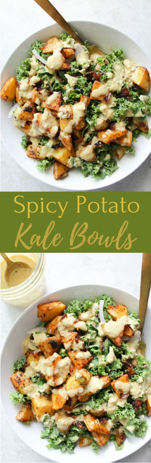 SPICY POTATO KALE BOWLS WITH MUSTARD TAHINI DRESSING #dinner #healthyeat