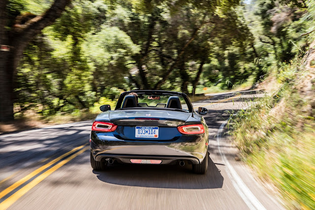 Rear view of 2017 Fiat 124 Spider Lusso