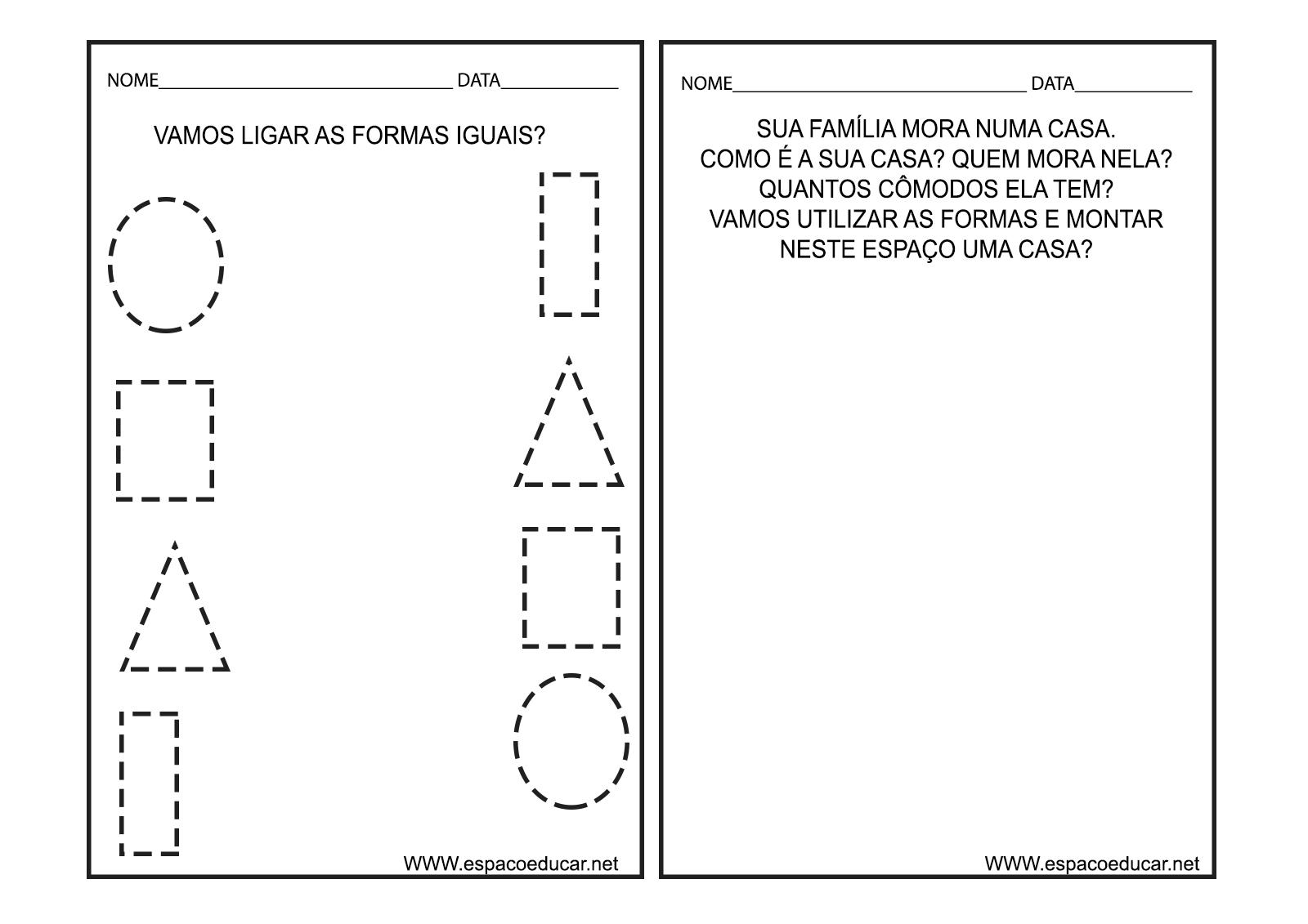 Amado ESPAÇO EDUCAR: Caderno de Atividades Cores e Formas para Educação  MJ72