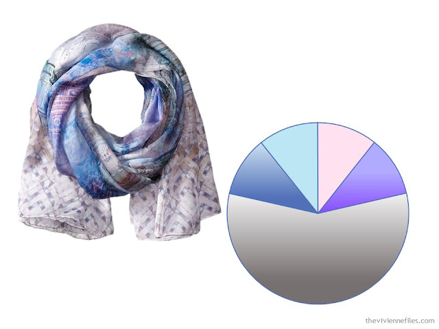 A pastel silk scarf and a color palette drawn from the scarf
