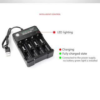 caricatore per batterie litio 18650 ricaricabili