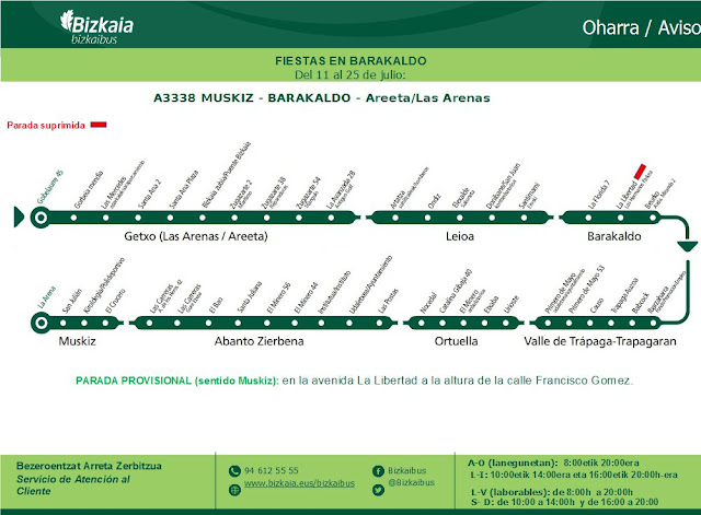 Cambios en la línea A3338