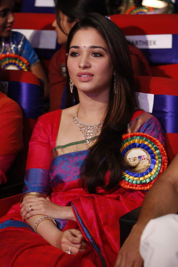 fair cute erotic angel Tamanna stills in saree at tsr and tv9 film awards