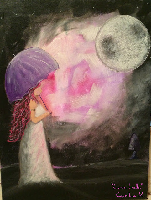 beautiful moon, pink night, moon, muchacha con sombrilla morada, paisaje nocturno con muchacha y sombrilla, penumbra,