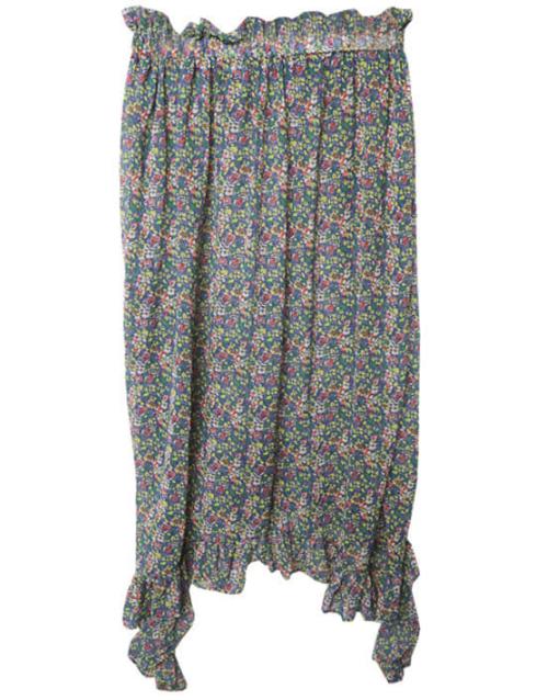 Banded Waist Frilled Floral Print Skirt
