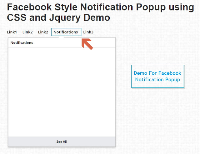 Facebook Style Notification Popup Using CSS, Jquery, and HTML
