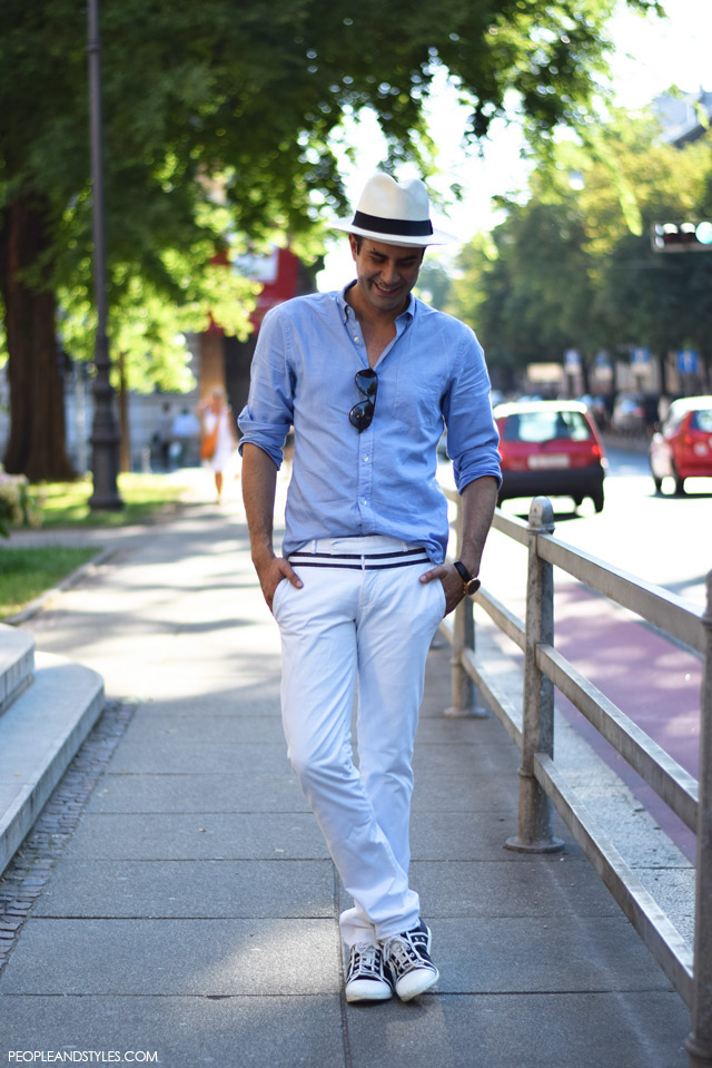 Ante Vrban, arhitektura, moda, dizajn, muška moda, street style. How to wear white pants and Panama hat for guys