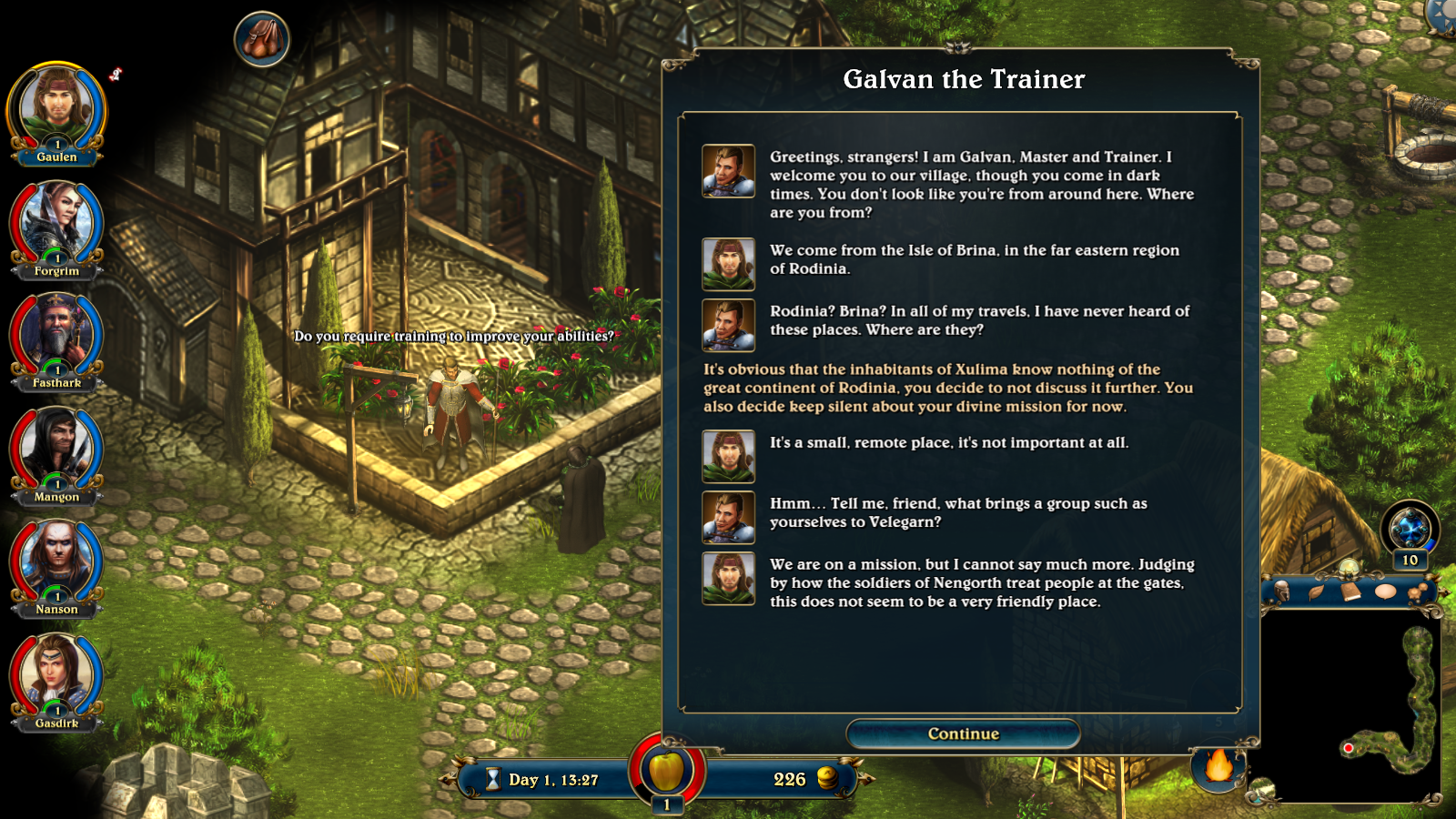 Conversation with Galvan the Trainer in Lords of Xulima.