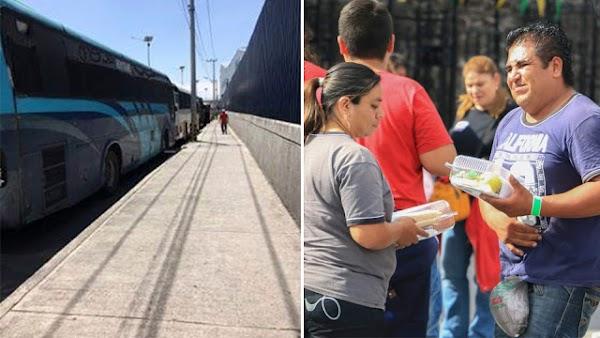 Salen acarreados en autobuses de Edomex hacia CDMX recibieron 1000 pesos y una torta de lunch